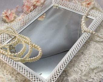Vintage Mirrored Vanity Tray Shabby,White,Distressed White