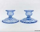 Cambridge Caprice Pattern Moonlight Blue Single Light Candle Holders Stem 300 - Vintage 1930s 1940s Cambridge Glass