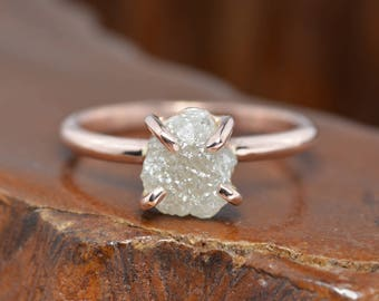 Custom order for Michael - 2 Carat Uncut Diamond Engagement Ring, 14k Rose Gold