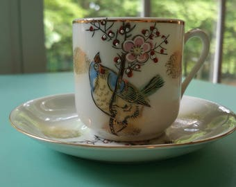 Hand Painted Bird Demitasse Cup and Saucer, Vintage China, Demitasse Tea Set, Vintage Tea Set