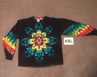 Tie Dye T-Shirt ~ Rainbow Mandala With Black Background ~ i-7562 in Long Sleeve Adult XXL