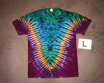 Rainbow/Grape (Purple) V with an Aqua Spider i_8281 in Adult Large