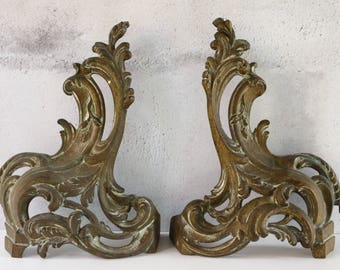 French Antique Andirons....Fire Dogs....Chenets...Bookends....Door Stops....Home Decor....Paris Apartment.....Shabby Chic.....Nordic Living.