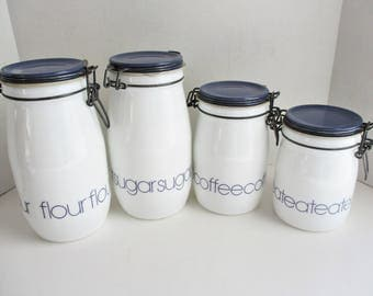 Vintage Canisters Milk Glass Mason Jars Wheatons Fine Glassware Set of 4 Canisters White Blue
