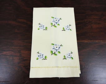Yellow Vintage Fingertip Embroidered Towel  Flowers  8 x 13