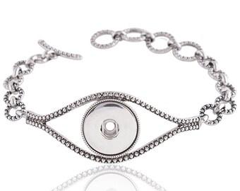 "1 Eye Bracelet - 7.25-7.75"" FITS 18MM Candy Snap Charm Jewelry Silver KC0708 CJ0828"