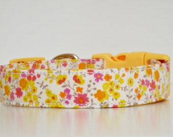 Yellow Pink Floral Dog Collar Wedding Accessories Spring Summer Collar Made to Order