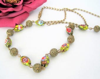 Millefiori Bead Necklace, Glass Beads, 26 Inch Bead, Gold Chain