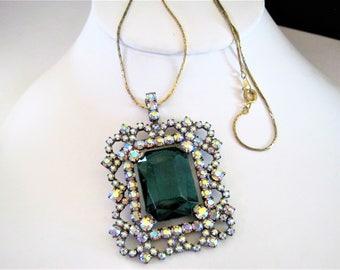 Czech Emerald Glass Pendant, Aurora Borealis Pendant, 40's Rhinestone Estate, Gold Tone Chain