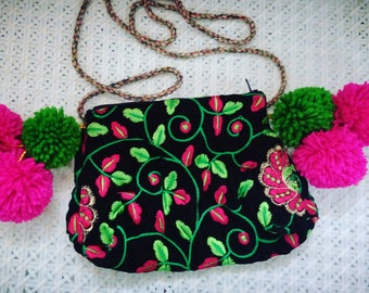 beautiful. 100% hand made purse, little shoulder bag, pink and green floral, embroidery bag, festival money bag, unique gift