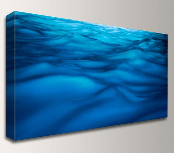 "Canvas Art, Panoramic Canvas,  Blue Wall Art, Canvas Wrap Home Decor, Nautical Artwork, Waves - "" Liquid """