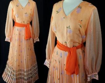 ON SALE Alfred Shaheen Dress, Border Print Skirt, Festival, Boho Chic