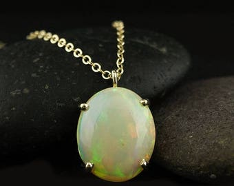 ON SALE Vibrant Australian Opal Necklace - Oval Opal Necklace - 14Kt Yellow Gold
