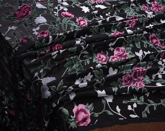 "Silk Velvet fabric, beautiful Floral burnout, black wide 55""  fashion silk fabric for evening dresses, shawls, cheongsam, scarves, shirts"