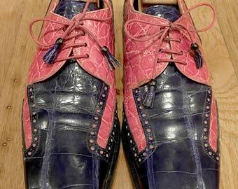 Vintage Mauri Pink and Purple Genuine Alligator oxford dress shoe