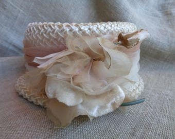 Vintage Hat with Rose 1950s Millinery
