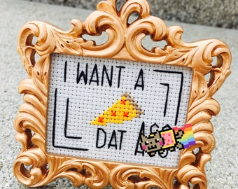 Mini Rose Gold Baroque Framed Cross Stitch - I Want A Pizza Dat Ass