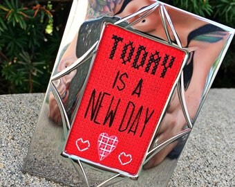 Mini Shiny Silver Framed Cross Stitch - Today Is A New Day