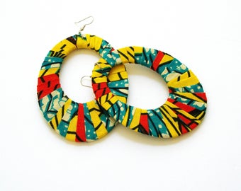 African Batik Print Oversized Wrapped Oval Earrings