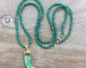 FINAL SALE-Green Aventurine Horn Necklace