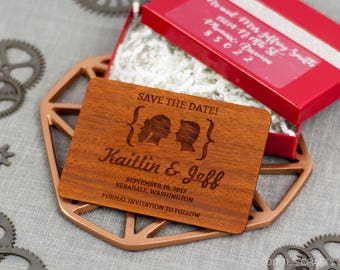 "Solid Wood Wedding Save-the-Date Sample Set - ""Facial Silhouettes"" Design Engraved on Padauk- Plus Credit Towards Final Order"