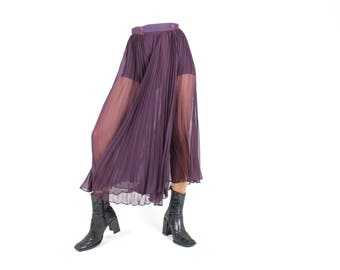 80s Does 50s Sheer Accordion Pleated Full Circle Avant Garde High Waist Midi Skirt