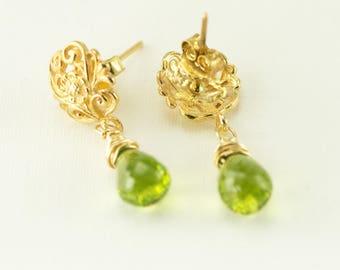Gold Peridot Earrings - Filigree 24k Gold Post Dangles - August Birthstone Earrings