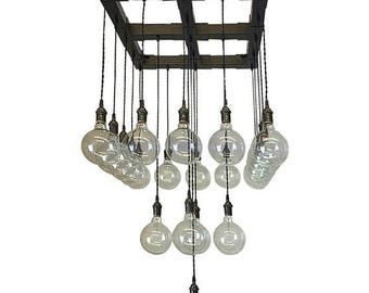Summer Promo Three Tiered Industrial Chandelier - Cascading Chandelier With Globe Edison Bulbs