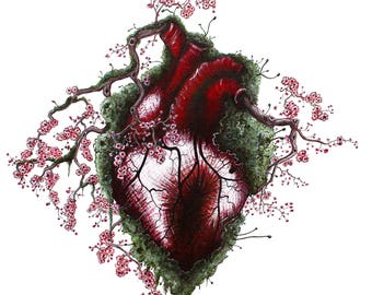 Heart with Cherry Blossoms -Print-