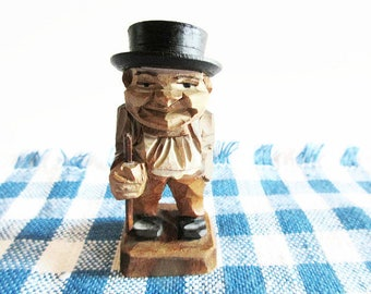 Small Old German Vintage Wooden Hand Carved Man with Hat and Stick, Hand Carved and Hand Painted