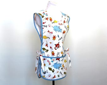 Dr. Seuss characters - Teacher Cobbler Smock Style Cotton Apron with two pockets