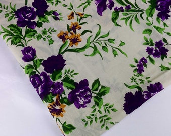 Purple and Cream Floral Print Soft Cambric Cotton - Digital Printed Indian Cotton Fabric - Dress Fabric-Printed Dress Cotton Fabric by Yard