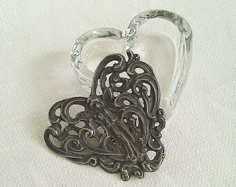 Ornate Vintage Glass Heart Trinket Box/Ring Box, Figural Metal Lid