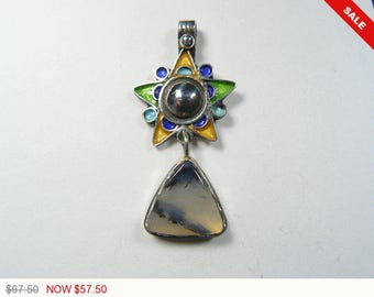 Dendritic Peruvian Opal and Berber Star sterling silver designer pendant (j11671)