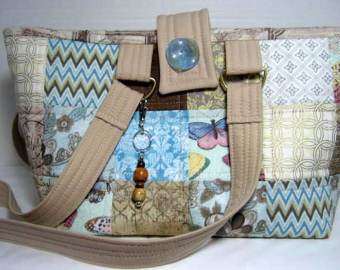 Yarn Organizer Project Tote, Knitting Crochet Craft Bag, Scrappy Patchwork Quilted Hand Tote