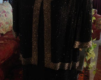 Vintage 1995 Black and Gray Boho Chic Sequin Jacket Dress