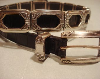 Vintage 1990s Boho Chic Square Silver Link Concho Belt