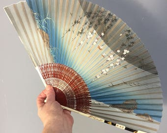 Early 20th century chinese fan, handpainted