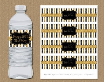 50th Birthday Party Decorations, 50th Anniversary Decorations, Glitter Birthday Water Bottle Labels, 50th Wedding Anniversary Decor B4