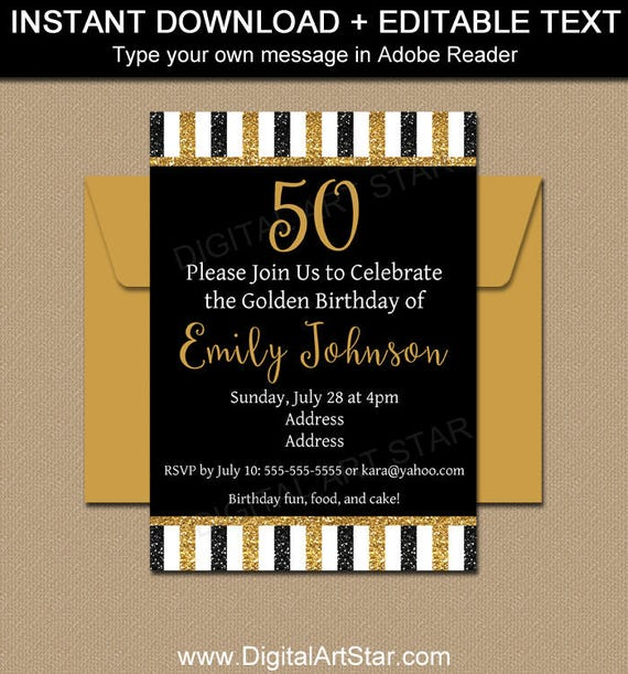Printable 50th birthday invitation template glitter invitation il570xn filmwisefo