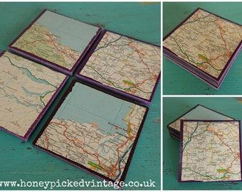Handmade composite granite Tile drinks Coasters set of 4 vintage map Glastonbury design gift idea square purple