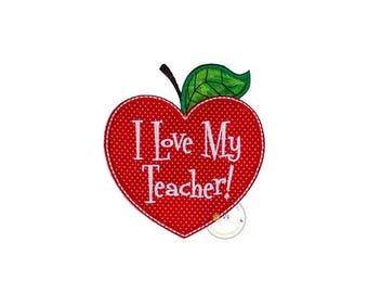 I love my teacher heart shapped apple no sew applique