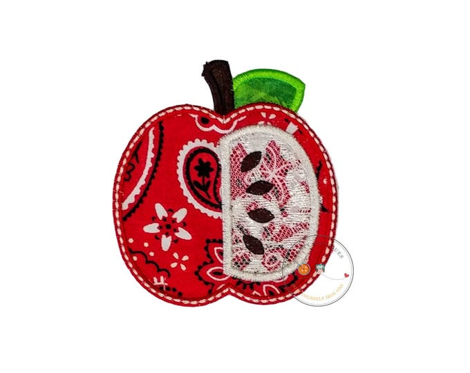 Red bandanna and lace half apple iron on applique