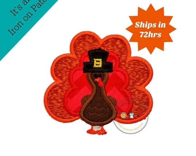 ON SALE NOW Small fall boy turkey with hat- iron embroidered fabric applique patch embellishment- ready to ship