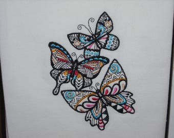 Stained glass butterfly flour sack towel. Machine embroidered.