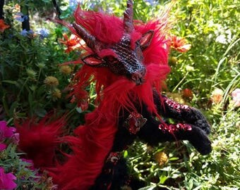 Red Asian Dragon Posable Art Doll