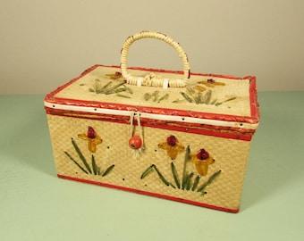Small Raffia Sewing Basket - Woven Storage Box Cellophane Flowers