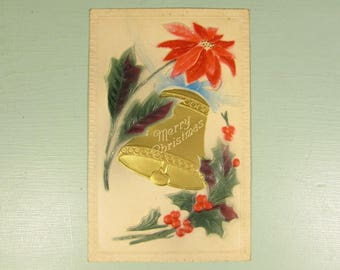 Poinsettia Bell Christmas Postcard - Vintage Embossed Red Green Gold