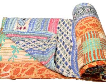Vintage Kantha Quilt Gudri Reversible Throw Ralli Bedspread Bedding India OG1046