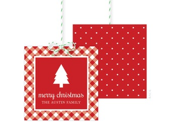 Christmas Gift Tags - Holiday Party Favor Tags - Christmas Party Tags - Printed or Printable - Free Shipping
